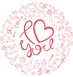 Love circle frame of icons for valentines day vector