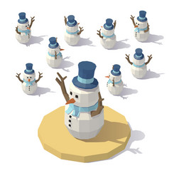 low poly christmas snowman vector image vector image