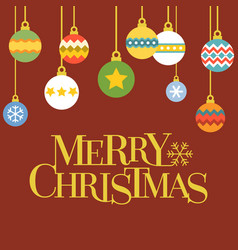 merry christmas letters with christmas ball vector image