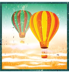 old poster with air balloons vector image vector image