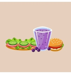 Sandwich burger and smoothie vector