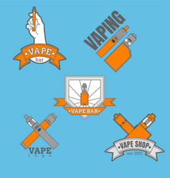 Set of different vaping logotypes colored on blue vector