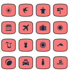 Set of simple seaside icons vector