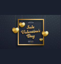 Template of black banner for sale on valentines vector