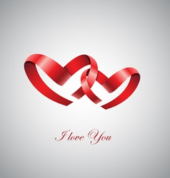 Two ribbon hearts inlove vector