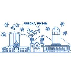 usa arizona tucson winter city skyline merry vector image vector image