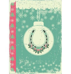 vintage christmas card on old paper background vector image vector image