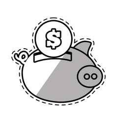 Piggy money safety bank cut shadow vector