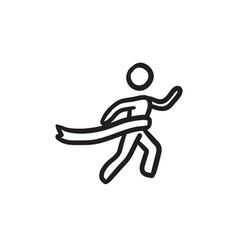 Winner crossing finish sketch icon vector
