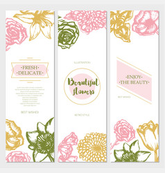 Beautiful flowers - color hand drawn square vector