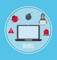 laptop cyber security system design vector image