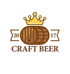 Craft beer logo with a barrel vector