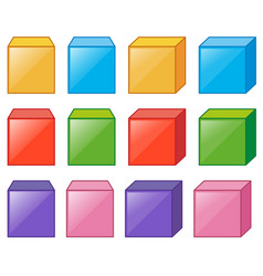 Different cube boxes in many colors vector