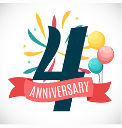 anniversary 4 years template with ribbon vector image