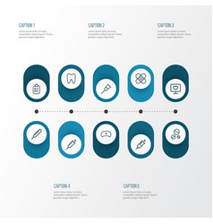 Drug outline icons set collection of temperature vector
