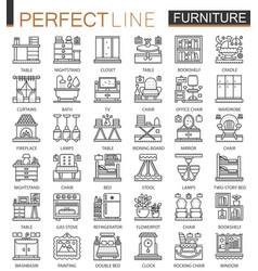 Furniture outline mini concept symbols interior vector