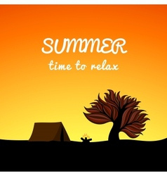 Poster summer landscape style recreation theme vector