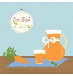 Pitcher with carrot juice eat fresh healthy vector
