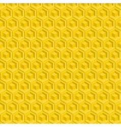 Seamless pattern of yellow glossy honeycombs vector
