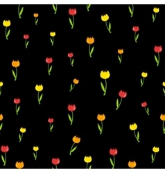 Floral seamless pattern background with tulips vector