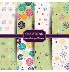Set of seamless patterns with snowflakes vector