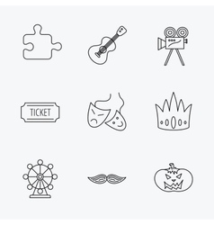 Puzzle guitar music and theater masks icons vector