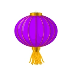 Purple chinese paper lantern icon cartoon style vector