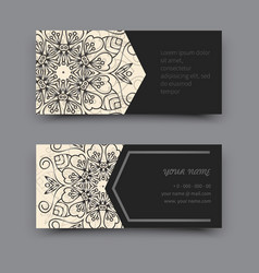 Black and white business card mandala vector