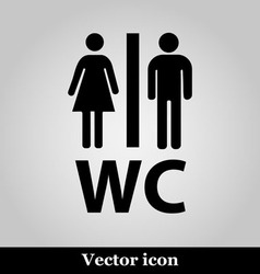 Wc flat icon on grey background vector