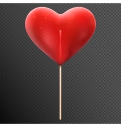 Red heart shaped candy lollipop eps 10 vector