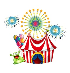 A happy monster outside the carnival vector image vector image