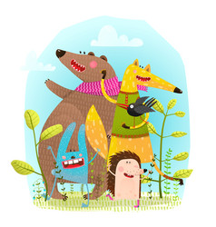 bear fox hedgehog rabbit and crow funny friends vector image