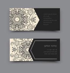 Black and white business card mandala vector