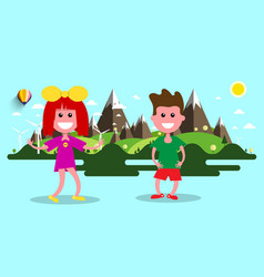 Boy and girl nature flat design landscape on vector