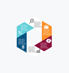 business diagram in hexagon vector image