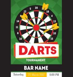 cartoon darts tournament poster for bar vector image