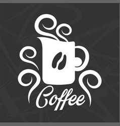 Coffee logo design with mug silhouette and grain vector