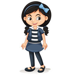 Cute girl in striped t-shirt vector