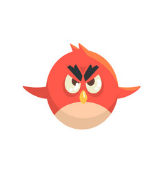 Cute little funny red chick bird flying colorful vector