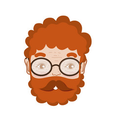 Cute man face with glasses and beard vector