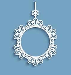 Cutout paper frame christmas decoration vector
