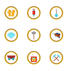 Diamond mining icons set cartoon style vector
