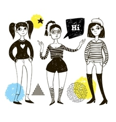 Doodle women and geometric elements vector image
