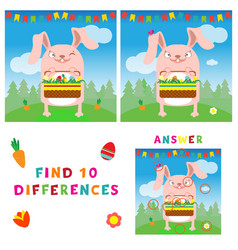 Find ten differences of easter bunny with eggs vector