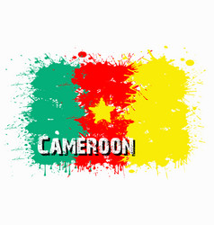 Flag of cameroon from blots of paint vector
