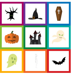 Flat icon celebrate set of witch cap fortress vector