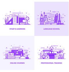 Flat line purple designed concepts 6 vector
