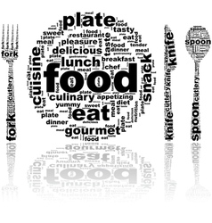 Food word cloud vector image vector image