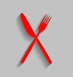 Fork and knife sign red icon with soft vector