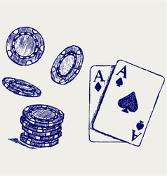 Gambling sketch vector image